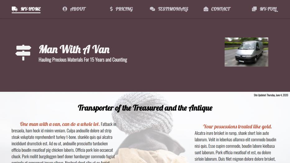 Man Van Home Page